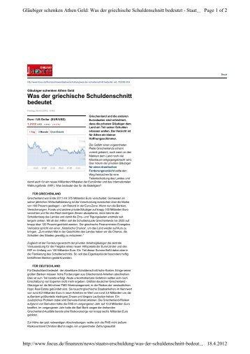 Was der griechische Schuldenschnitt bedeutet - SolarPeace.ch