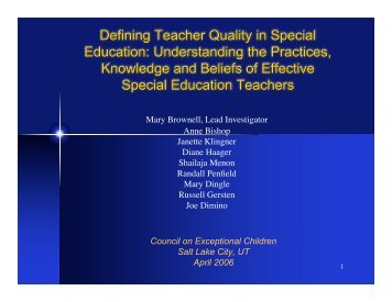 Defining Teacher Quality in Special Education ... - copsse