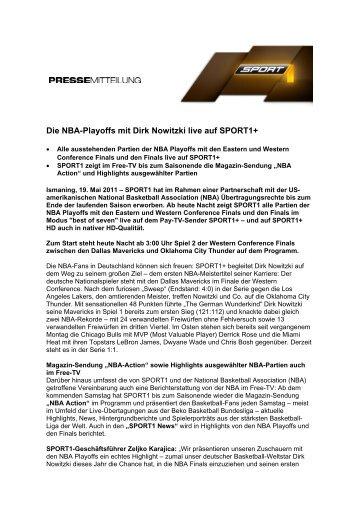 Die Nba-Playoffs mit Dirk Nowitzki live auf SPORT1+