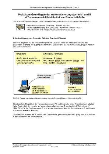 Praktikum Grundlagen der Automatisierungstechnik I und II