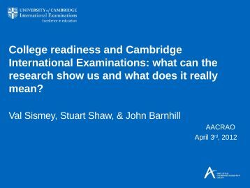 College Readiness and Cambridge International ... - AACRAO