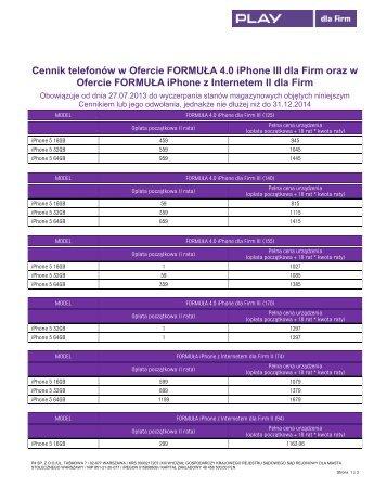 Cennik telefonow w Ofercie FORMULA 4.0 iPhone III dla Firm oraz w ...