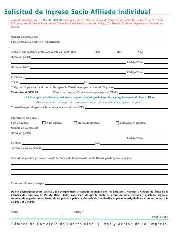 Solicitud de Ingreso Socio Afiliado Individual - Cámara de Comercio ...