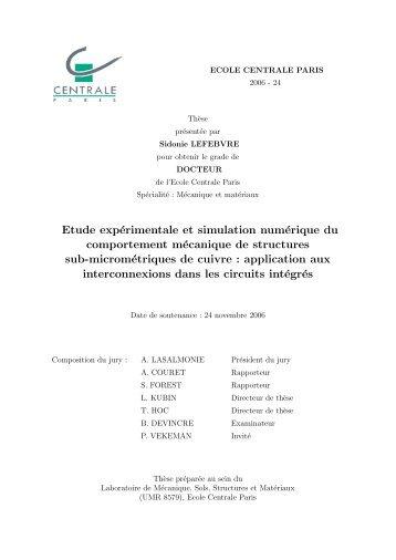 Ph.D. thesis, Ecole Centrale Paris, 2006. - Laboratoire d'Etude des ...