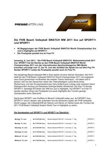 Die FIVB Beach Volleyball SWATCH WM 2011 live auf SPORT1+ und