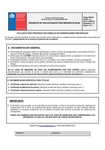 REQUISITOS DE VISA ESTUDIANTE PARA MENORES DE EDAD A ...