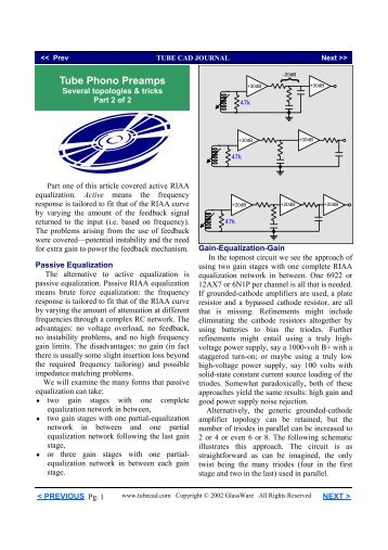 RIAA Preamps Part 2 - Tube CAD Journal