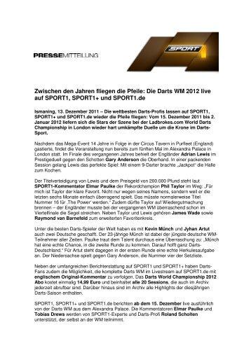 Die Darts WM 2012 live auf SPORT1, SPORT1+ und Sport1.de