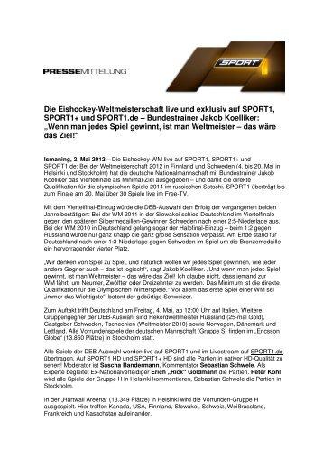 Die Eishockey-Weltmeisterschaft live und exklusiv auf SPORT1 ...