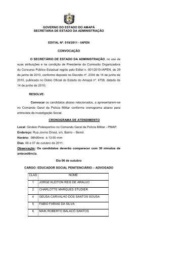 governo do estado do amapá secretaria de estado da administração ...