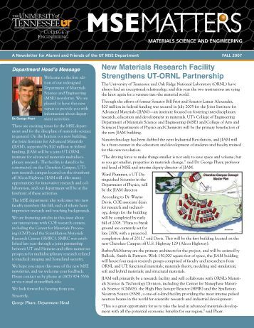 Department of Materials Science and Engineering Newsletter