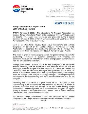 Tampa International Airport earns 2008 IATA Eagle Award