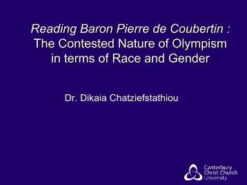 Reading Baron Pierre de Coubertin - Routledge Online Studies