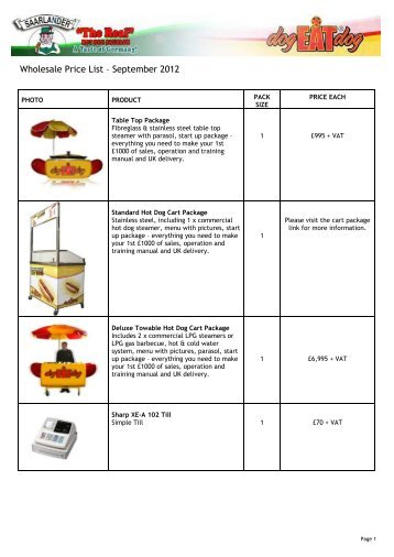 Wholesale Price List – September 2012 - Saarlander (U K)