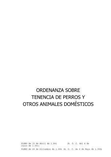 ordenanza sobre tenencia de perros y otros animales domésticos
