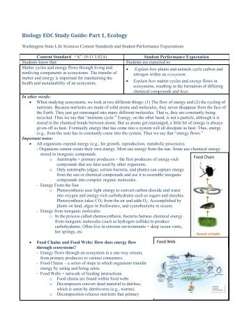 Biology EOCT Study Guide - Laurens County Schools
