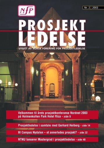 Prosjektledelse, Nr. 2 - 2003 - Norsk senter for prosjektledelse - NTNU