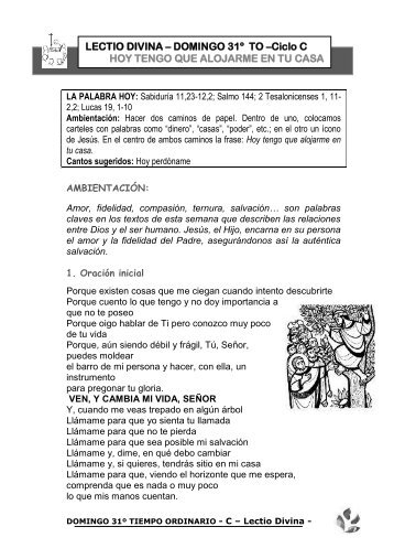 Lectio Divina. Domingo 31 T.O. 2010