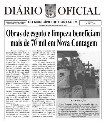 DIARIO OFICIAL - 2.216 - Prefeitura de Contagem