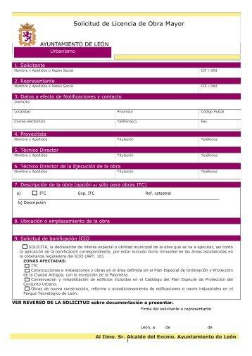 Solicitud Licencia Obra Mayor - Ayuntamiento de León