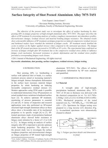 Surface Integrity of Shot Peened Aluminium Alloy 7075-T651