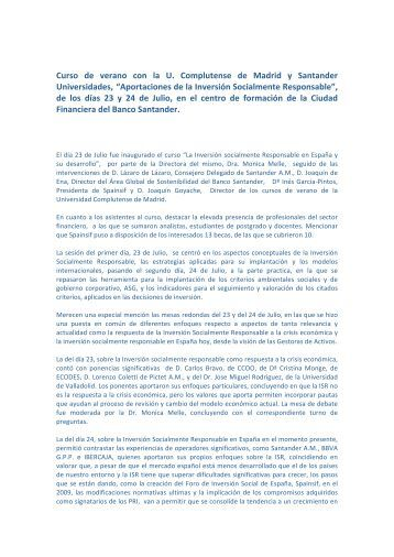 Curso de verano con la U. Complutense de Madrid y ... - Spainsif