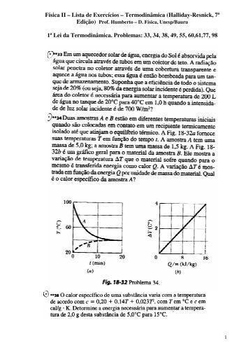 Física II – Lista de Exercícios – Termodinâmica (Halliday ... - Unesp