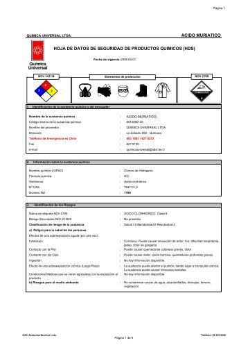 acido muriatico hoja de datos de seguridad de productos quimicos