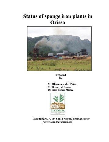 Status of sponge iron plants in Orissa - Vasundhara