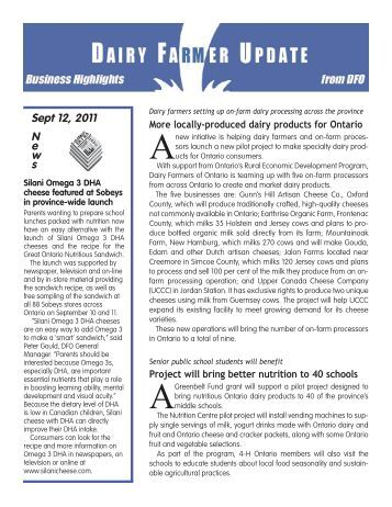 September - Dairy Farmers of Ontario
