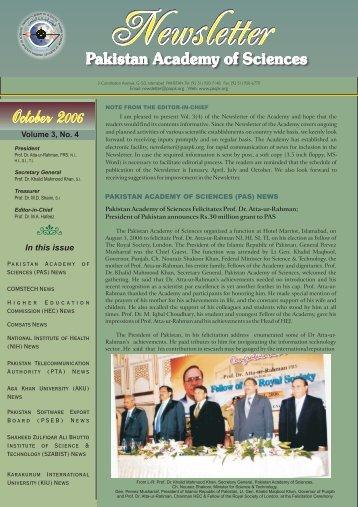 October 006 October 006 - Pakistan Academy of Sciences