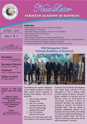 NewsLetter April 2012 - Pakistan Academy of Sciences