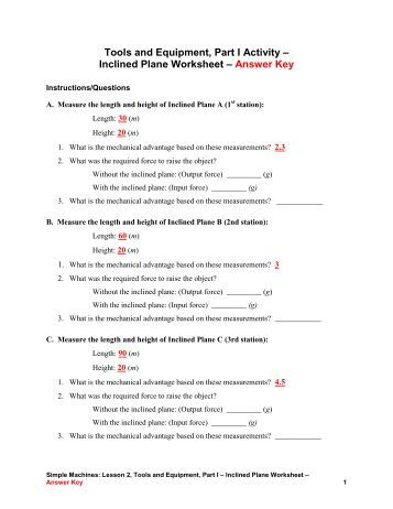 simple machine worksheet answer key