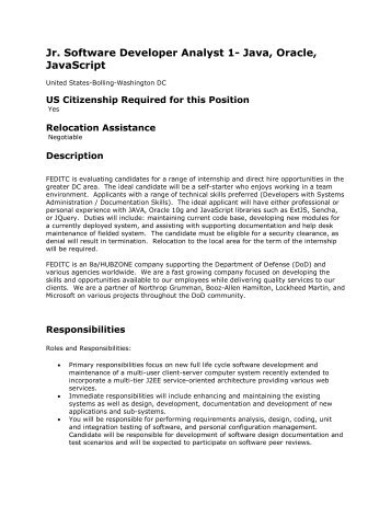 Jr. Software Developer Analyst 1- Java, Oracle, JavaScript