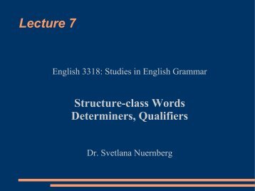 Determiners and Qualifiers