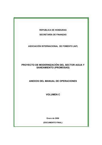 anexos del manual de operaciones volumen c - Secretaría de ...