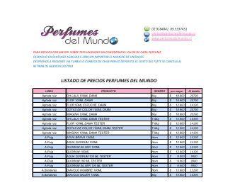 LISTADO DE PRECIOS PERFUMES DEL MUNDO - HOME