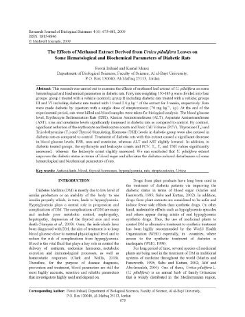 The Effects of Methanol Extract Derived from Urtica pilulifera Leaves ...