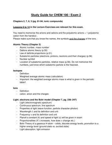 chem 100 study guide Chem 100 chap 2 study guide study guide by thuy_doan2 includes 50 questions covering vocabulary, terms and more quizlet flashcards, activities and games help you improve your grades.