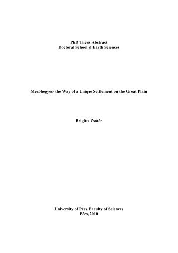 Doctoral Thesis Abstract
