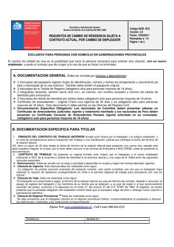 REQUISITOS DE CAMBIO DE RESIDENCIA SUJETA A CONTRATO ...