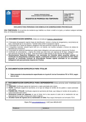 REQUISITOS DE PRORROGA VISA TEMPORARIA B ...