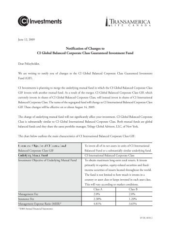 Letter to investors in CI Global Balanced Corporate ... - CI Investments