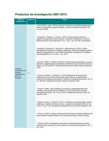 Productos de investigación 2007-2013 - Universidad de los Andes