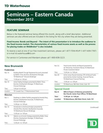 Td waterhouse options trading seminar