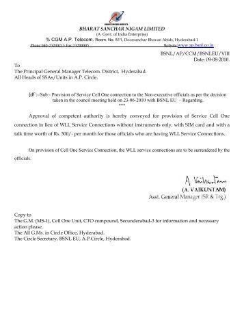 BHARAT SANCHAR NIGAM LIMITED Website:www.ap.bsnl.co.in ...