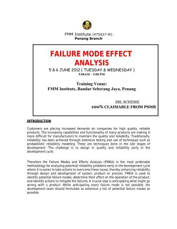 Failure Mode Effects Analysis (FMEA)