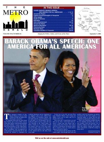 barack obama's speech - The Metro Herald
