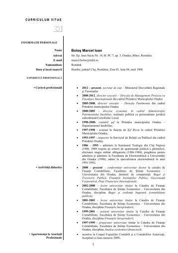 1 Boloş Marcel Ioan - Facultatea de Ştiinţe Economice