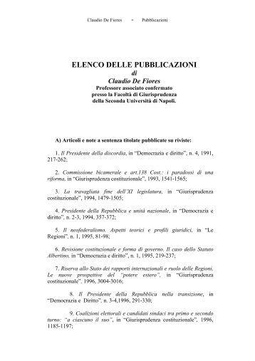 elenco delle pubblicazioni - Archivio di Diritto e Storia Costituzionali